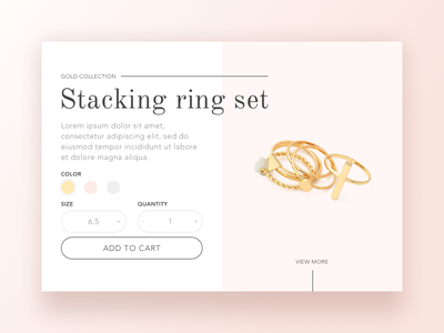 Jewelry store product page concept minimalist pale minimal ux ui ecommerce gold rings jewelry