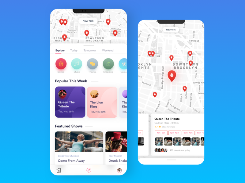 Explore Happenings vibrant colors candy gradient user experience design user interface uxui iphone 10 shows explore app drinks happenings artist theatre travel explore