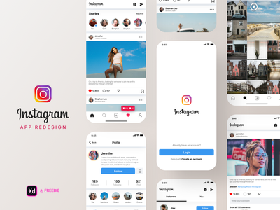 📷Instagram App Kit Freebie - Redesign Challenge ⬇️ behance redesign dribbble uplabs photography ui design social app challenges free download freebie ui kit twitter facebook insta app insta instagram instagram app contest challenge app design