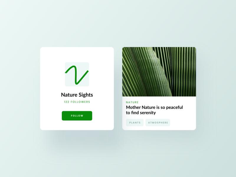 Nature Card UI app design minimal ux design cards ui ui design website concept website design