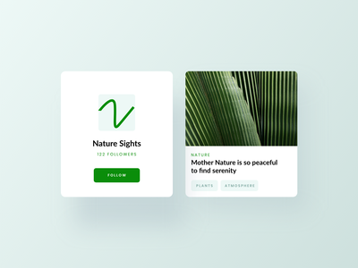 Nature Card UI app design minimal ux design cards ui ui design website concept website design