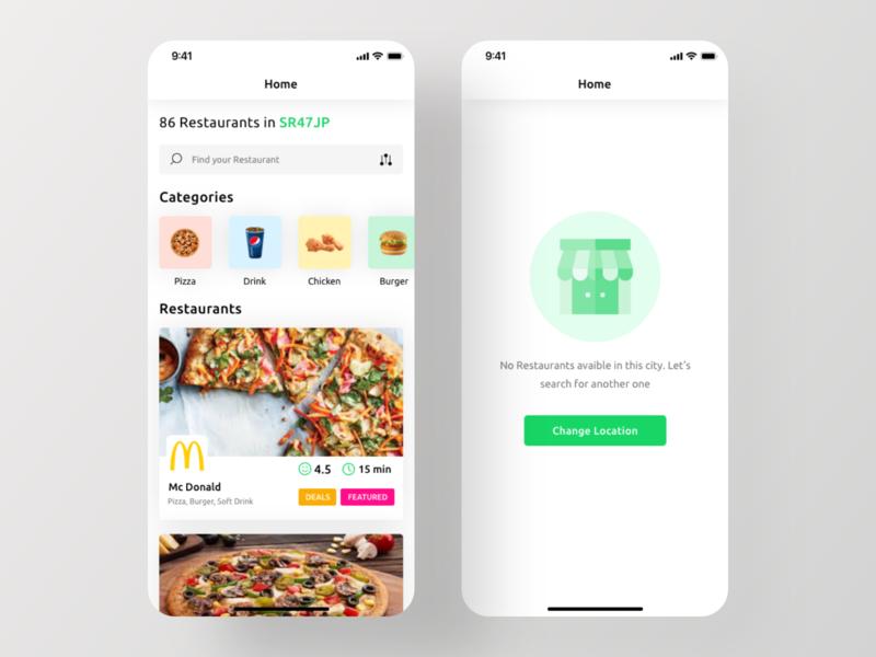 Restify App UI Kit - Home Screen uber eats ubereats foodpanda ui kit ios app kit app ui design food delivery app ios app design restaurant app
