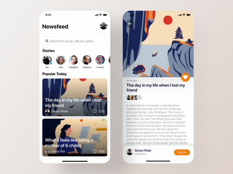Social Journalism App Design - Concept 2 book app home screen design ui card design app ui design ui kit ios app kit ios app ui journalism social stories app reading app article reading medium app