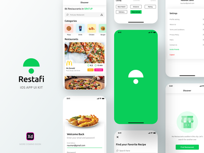 Restafi - Restaurant iOS App UI Kit freebie restaurant branding delivery boy app swiggy uber eats uber foodpanda food app ui design ios app kit ios app ui kit home screen food delivery app restaurants restaurant app