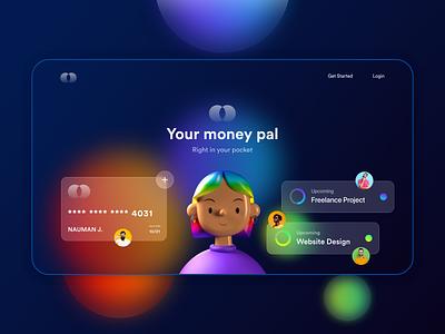 Payment Landing Page   Glassmorphism Design neumorphism trending ui ui design payment method credit card landing page payment glassmorphism 2021 trend
