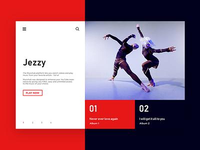 Jezzy  - Music Website minimal product design ux design ui design website design landing page minimalism typography