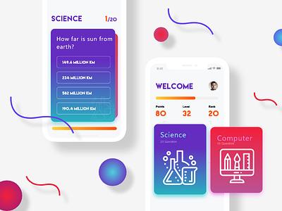 Quiz iOS App - UI Design colorful quiz gradient color ux design ui design user experience design user interface design mobile app design