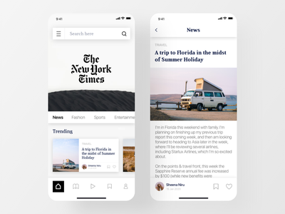 The New York Times - News App Freebie ui design typography minimalism 2020 trend minimalistic ios app news reader newsletter homepage reading mobile app app design minimal design minimal uitrends inspiration new york times magazine app news app