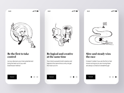Minimal Onboarding Screens ux design app design blackandwhite minimalistic simple ui trends mobile app mobile app design steps launch screen minimalism minimal design ui design onboarding onboarding screen design