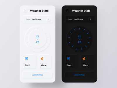 Weather App - Neumorphism Soft UI Design app redesign challenge dribbble uplabs minimalism skeumorphism messaging app text app ux design app design mobile app ui design ui trends 2020 trend soft ui neumorphism design