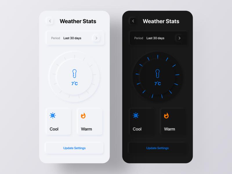 Weather App - Neumorphism Soft UI Design app redesign challenge dribbble uplabs minimalism skeumorphism messaging app text app ux design app design mobile app ui design ui trends 2020 trend soft ui neumorphism design