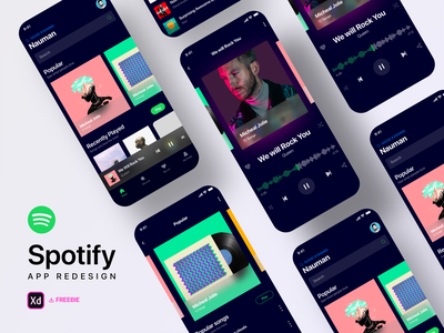 Spotify Redesign Challenge - Freebie ui design challenge list songs album design challenge dark theme uplabs free download freebie ios app spotify cover mobile app user experience user interface ux design ui design music app music spotify