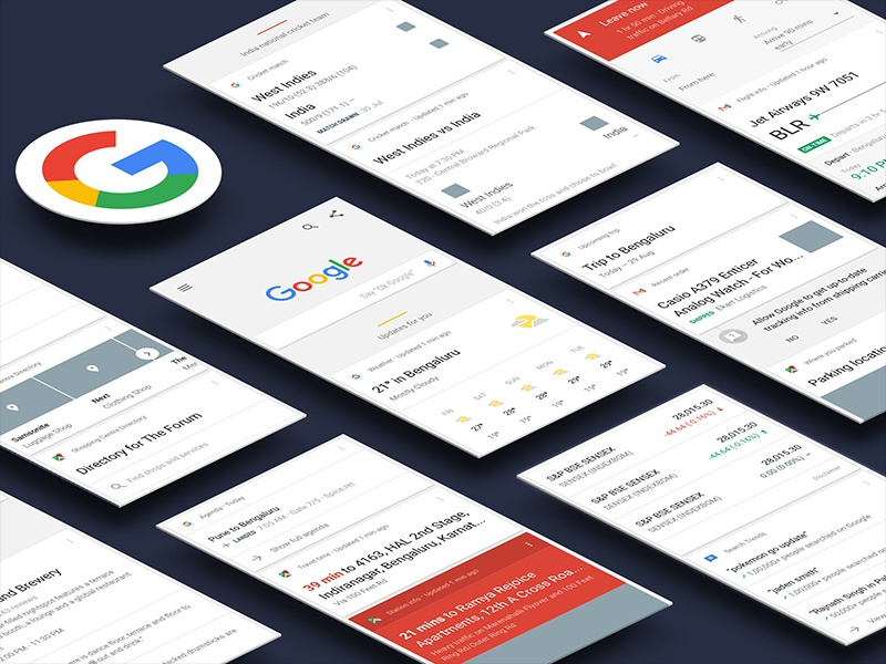 Google Now debut android material design mobile sketch google now freebie interface ui kit