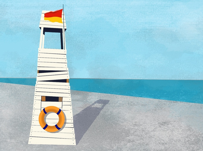 Lifeguard house at the beach illustration. lifebuoy sunny sun shadow flat illustration flag safety swimming vacation ocean graphic flat illustration horizon beach sea
