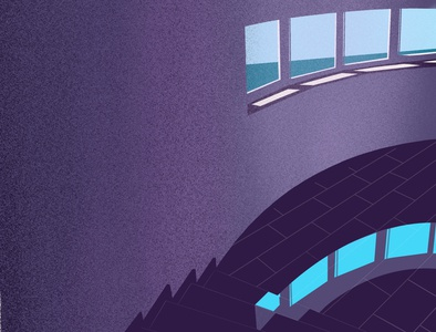 Illustration of the window with sea view. travel stairs vacation texture flat shadow violet painting graphic illustration