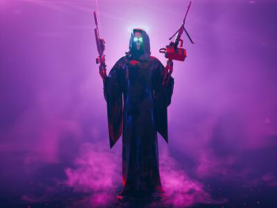 Grim 2.0 spooky character 3d render redshift c4d