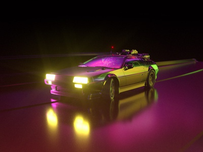 Delorean neon octane c4d car render sci-fi back to the future delorean