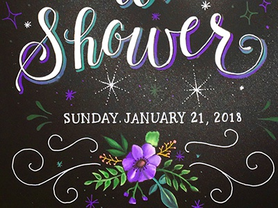Bridal Shower Chalk Sign flowers illustration lettering