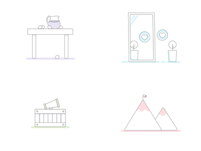 Illustration Set icon sketch ui illustration