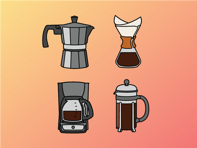 Coffee Makers illustration icons press french over pour chemex percolator coffee
