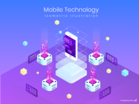 Isometric Illustration - Mobile Technology