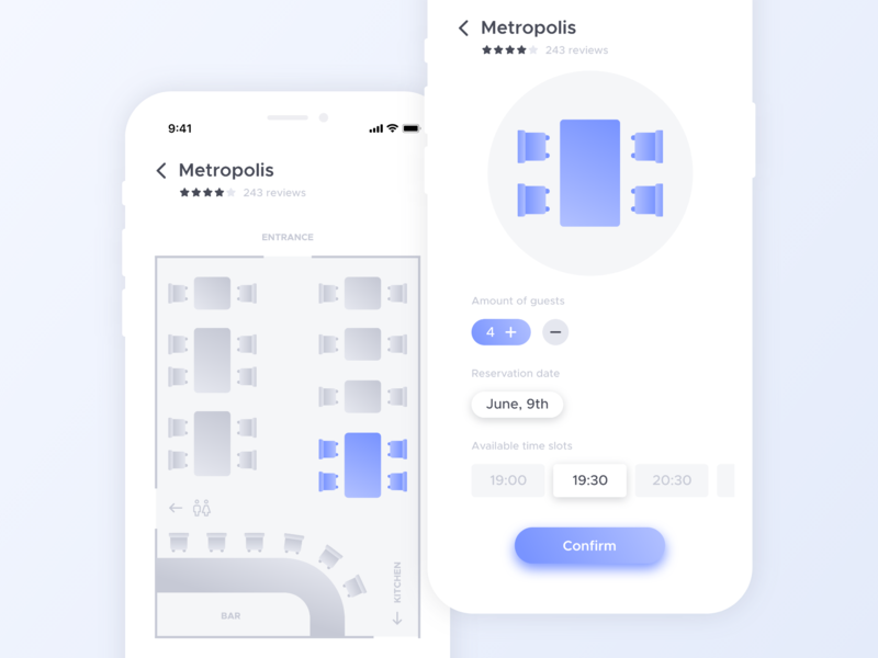 Table Reservation App Concept gradient flat intuitive minimal booking ios layout chair tables book restaurant ux app ui design