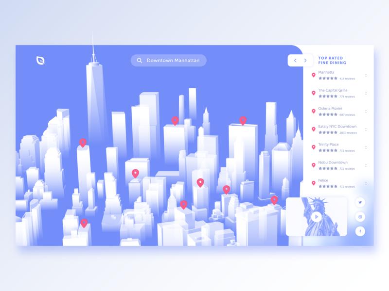 3D Restaurant Exploration App web vector ui ux city guide one world trade landingpage landing illustration holographic newyorkcity newyork manhattan downtown app designer city app design 3d