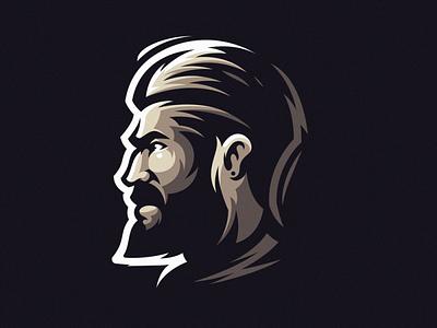 Awesome beard logo design cool man beard vector illustration sports mascot esports masculine character design brand esport branding logo