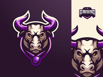 Bull logo design bull ilustrator sports logo icon sport mascot games esports masculine character designs brand esport branding logo