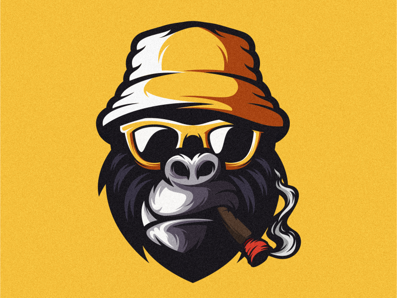 geek gorilla mark colorful fitness vector animal logotype design illustration icon mascot sports character esports masculine games designs brand branding esport logo