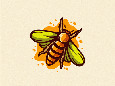 bee logo beard mark colorful animal vector logotype design illustration icon mascot sports character esports masculine games designs brand branding esport logo