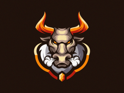 bull logo mark fitness colorful animal vector logotype design illustration icon mascot sports character esports masculine games designs brand branding esport logo