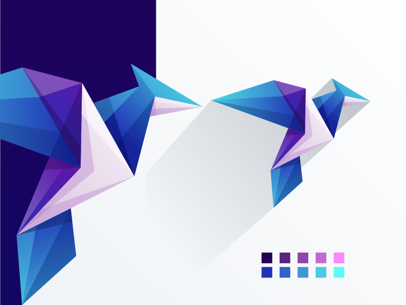 origami bird design colorful typography app ui ux vector animal logotype illustration icon character games masculine designs brand branding bird origami logo