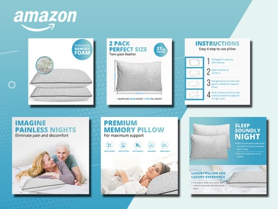 Bed Cushion- Amazon Product Photography Editing & Design amazon infographics infographics lifestyle photo product infographics product design amazon listing design product photo design infographic design product images amazon images