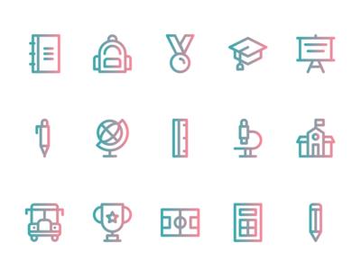 School Icons (Line Style)