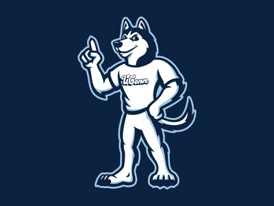 UCONN Johnathan Husky Mascot logo flag basketball mascot sports connecticut canine husky athletic illustration