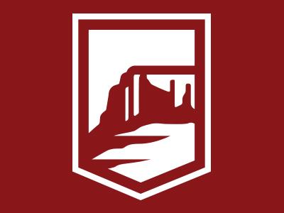 Dixie State design illustration custom plateau butte mountain shield positive negative dixie state