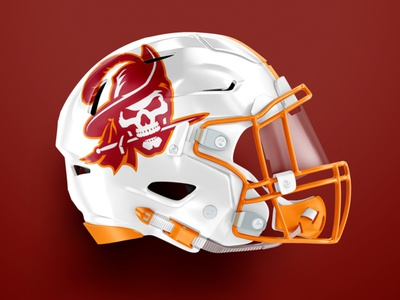 Tampa Bay Buccaneers rebrand teeth skull vintage buccaneers pirate helmet football sports athletic custom illustration design