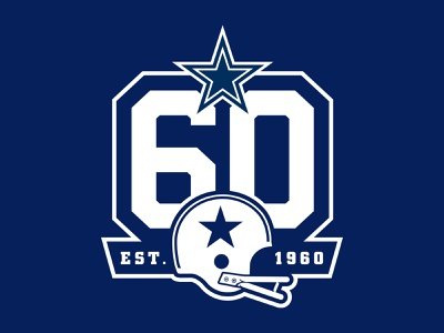 Dallas Cowboys 60 Seasons branding lettering football star typography sports athletic custom illustration design