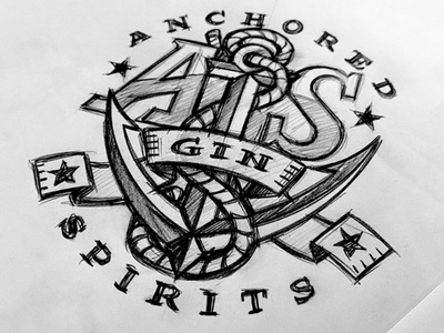 Anchored Spirits Gin Concept spirit ribbon star rope anchor branding logo hand drawn typography custom illustration design