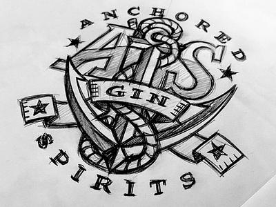 Anchored Spirits Gin Concept spirit ribbon star rope anchor branding logo hand drawn typography custom illustration design