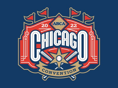 American Baseball Coaches Association Chicago Convention 2022 ribbon flag american ball bat sign chicago cubs chicago lettering baseball sports typography athletic custom illustration design