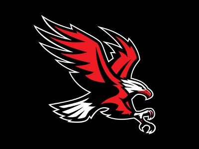 Screaming Eagle aggressive university athletics sports illustration bird black red eagle logo