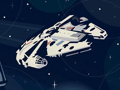 Millennium Falcon design custom illustration star wars space disney graphic icon lucas film millennium falcon galaxy