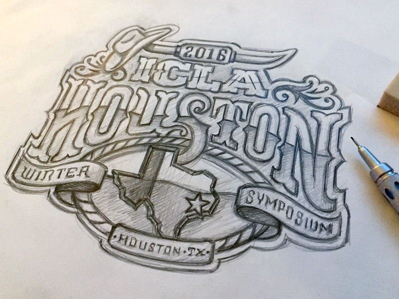 ICLA 2016 Houston Sketch state horns western star texas sketch lettering typography hand drawn hand lettering custom type design