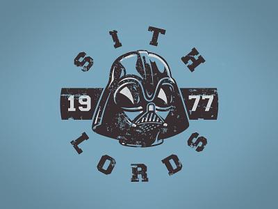Vintage Darth Vader intense snarl retro sports 1977 illustration team droid darth vader star wars vintage