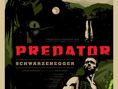 Predator Commemorative Poster poster moon night jungle predator movie hand drawn illustration custom design