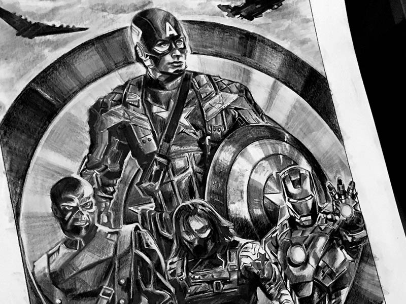 Captain America Shield Trilogy Poster movie poster vintage shield pencil comics captain marvel hand drawn hand sketch illustration design