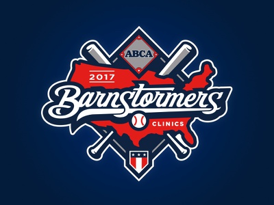 ABCA Barnstormers Clinics star hand drawn map usa script bat diamond baseball lettering illustration custom design