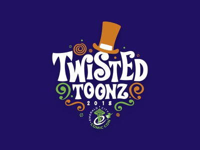 Twisted Toonz top hat emerald wonka willy convention con comics font design typography illustration custom design